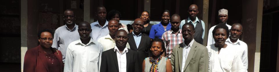 Representatives of CBOs and the Peace and Conflict Studies Centre staff, with the Principal of CHUSS, Prof. Edward K. Kirumira (2nd R), and the Dean, School of Liberal & Performing Arts, Assoc. Prof. Patrick Mangeni (R), at the workshop