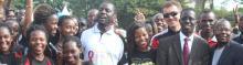 Right-Left: The Chief Walker, Prof. Bernard Bashaasha, the Principal CHUSS, Prof. Edward K. Kirumira,Uganda Cranes Coach, Milutin 'Micho' Sredojevic and the Dean, School of Psychology, Dr Julius Kikooma