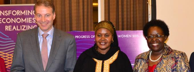 Right-Left: The Dean School of Women and Gender Studies, Assoc. Prof. Josephine Ahikire; Ms Christine Musisi, Regional Director, UN Women, Eastern and Southern Africa; State Minister for Gender, Labour and Social Development, Hon. Rukia Nakadama Isanga; the Head of Delegation, European Union, H.E Ambassador Kristian Schmidt; and UN Women Country Representative, Ms Hodan Addou
