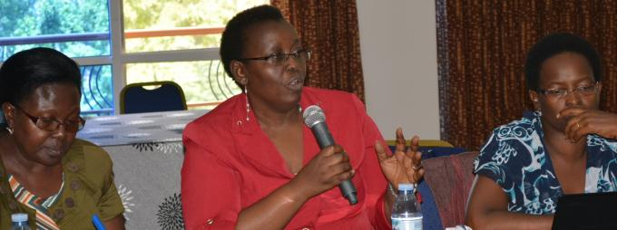Prof. Grace Bantebya from the School of Women and Gender Studies makes her submission during the workshop