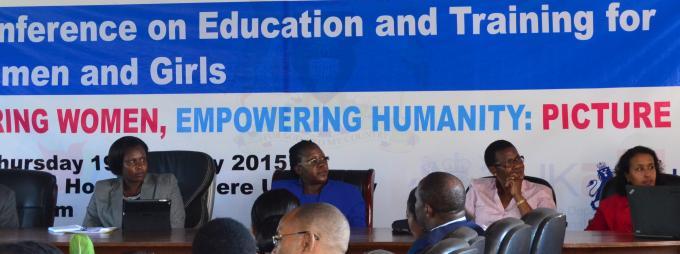 Right-Left, UN Women Country Representative, Mrs. Hodan Addou, Assoc. Prof Josephine Ahikire, Hon Jessica Alupo, Assoc. Prof. Okello Ogwang, and Prof. Edward K. Kirumira