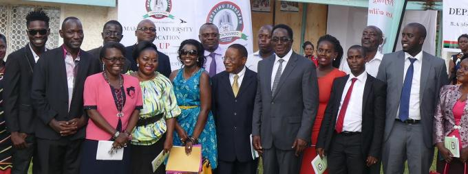 Some of the artistes in a group photo with the Chancellor, Vice Chancellor and members of staff from the Department of Performing Arts and Film