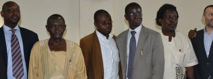 Right-Left: Assoc.Prof. Deusdedit R.K. Nkurunziza, Mr Haron Aloko, Assoc. Prof. Patrick Mangeni, Prof. Edward K. Kirumira, Mr Salim Katumba, Prof. Abasi Kiyimba, Mr Seryazi and Dr Mohammed Kiggundu,
