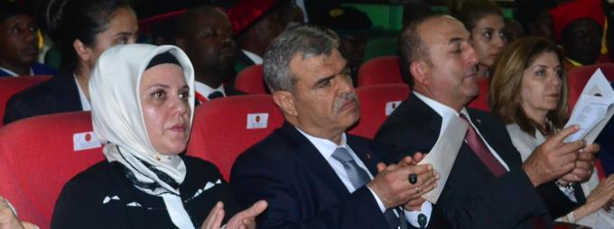 H.E Erdoğan's wife Emine (L) and other Turkish delegates follow the proceedings