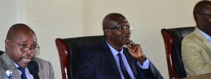 Left- Right: Prof. John-Jean Barya, Dr. John Kiyaga-Nsubuga and Dr. Frederick Golooba-Mutebi
