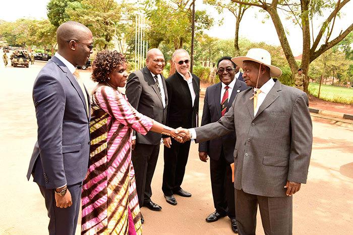 Dr Muwanga receives the President