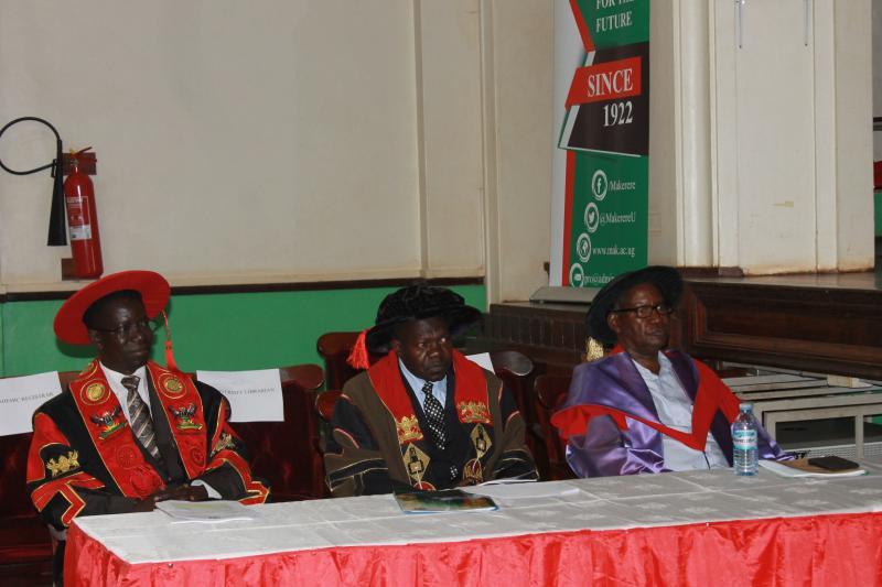 Dr Okello Ogwang (C), Prof. Kirumira (L) and Prof. Sabiiti