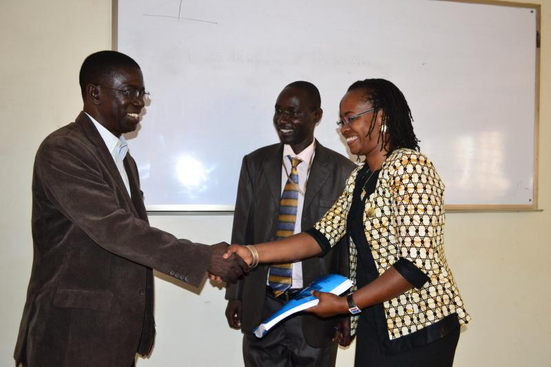 Prof. Kirumira congratulates Dr Ssali