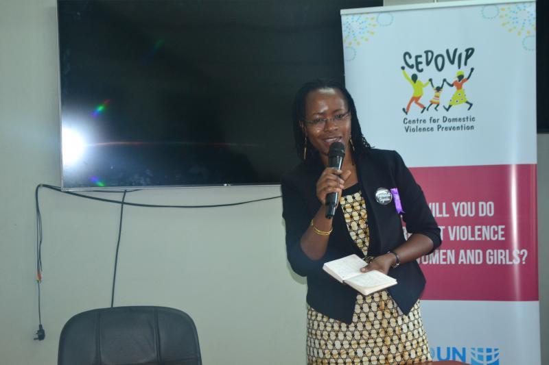 Dr Sarah Ssali delivers her remarks