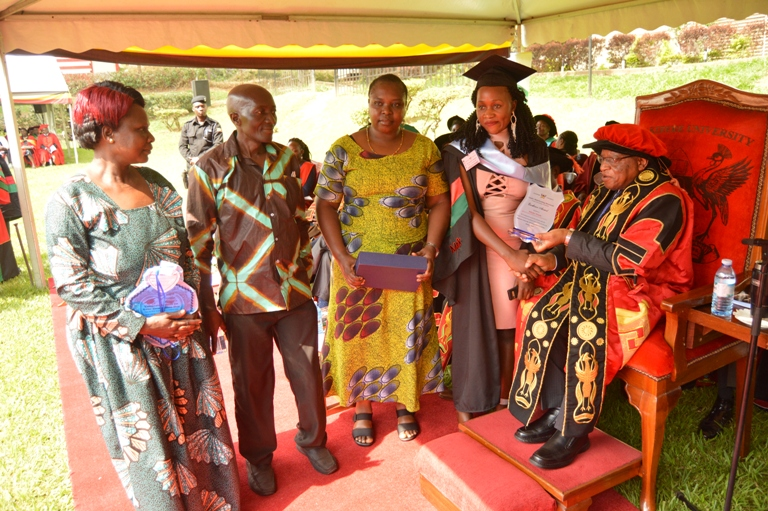 Mak Female Scholarship Foundation sponsored student Kikobye Winnie recognized for attaining a First Class Degree in B.A Social Work and Social Administration