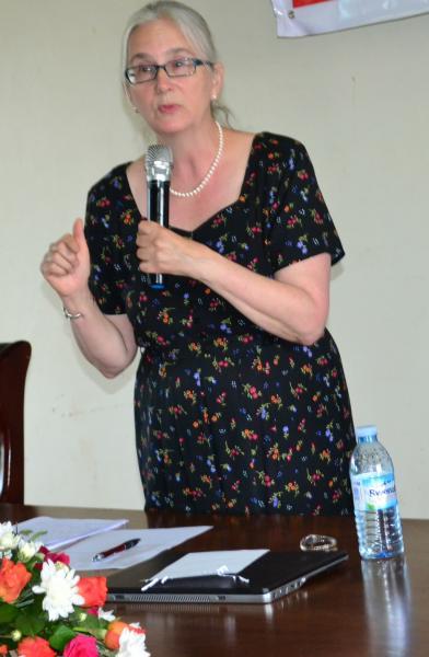 Prof. Hanson delivering her presentation