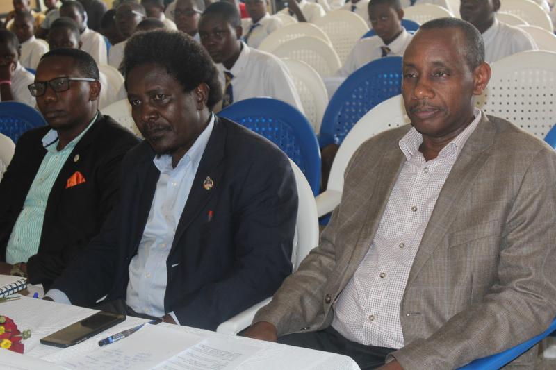 Dr Mushengyezi (R), Dr Mangeni (C) and Mr Muhereza attended the Spanish Pedagogical Day celebrations
