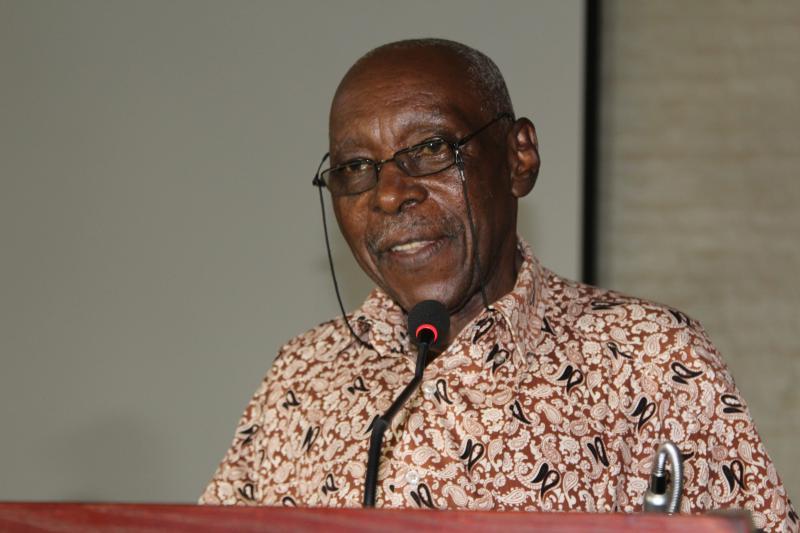 Mwalimu Austin Bukenya stood in for Prof. Abasi Kiyimba who was indisposed