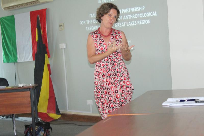 Prof. Cecilia Pennacini presenting about the Italian-Ugandan cooperation