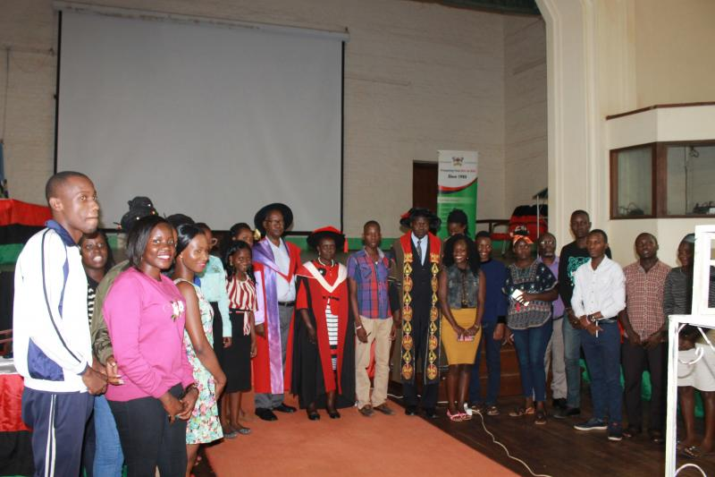 Prof. Mukama with some of her students
