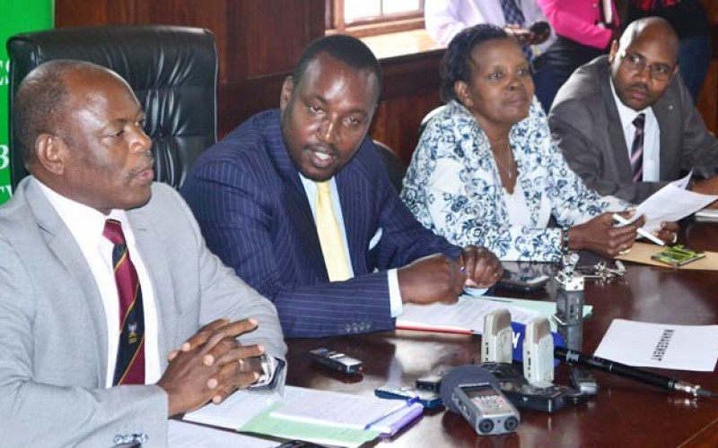Left-Right: The Ag Vice Chancellor also Deputy Vice Chancellor in charge of Finance and Administration, Prof. Barnabas Nawangwe, the Chair Makerere University Appointments Board, Mr Bruce Kabasa, the Director Human Resources, Mrs Mary Tizikara, and the University Secretary, Mr Charles Baruhagare at the press conference held in Council Room yesterday