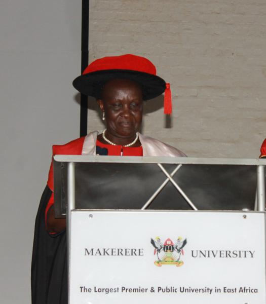 Prof. Mukama delivering her valedictory lecture